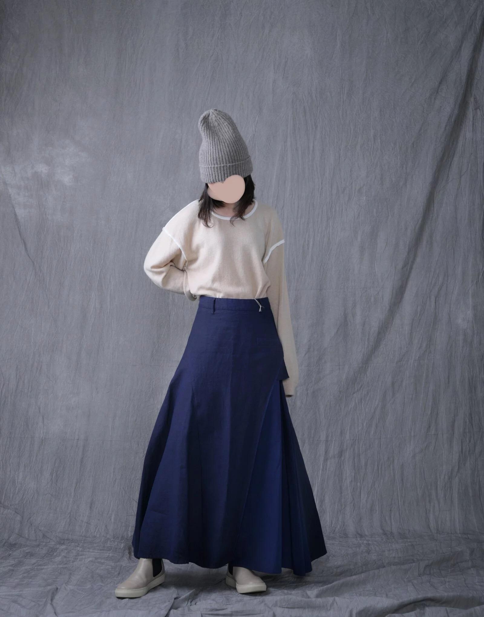 日本奶奶家 棉麻朱子織拚接寬縫裙 四色 size