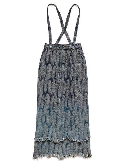 日本阿公家 12oz羽毛刺繡牛仔吊帶裙 size