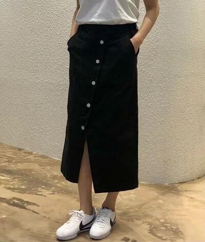 韓 前扣斜岔棉裙 五色 size